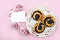 Top view of poppy seed buns and paper card Royalty Free Stock Photos
