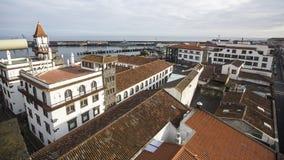 Top view of the Port of Ponta Delgada in the Azores, Atlantic Ocean. Stock Photo