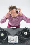 Top view portrait of dj mixing and spinning Royalty Free Stock Photography