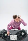 Top view portrait of dj mixing and spinning Stock Photography