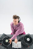 Top view portrait of dj mixing and spinning Royalty Free Stock Images
