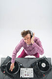 Top view portrait of dj mixing and spinning Stock Image
