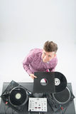Top view portrait of dj showing his vinyl records Stock Photography