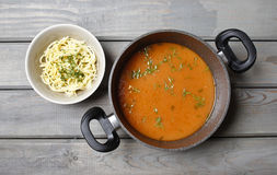 Top view on pot of tomato soup Royalty Free Stock Photos