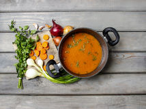 Top view on pot of tomato soup Royalty Free Stock Photography