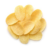 Top view of potato chips. Isolated on white Royalty Free Stock Image