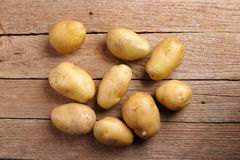 Top view potatoes on wooden Royalty Free Stock Photo