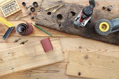 Top view of power tools for woodworking on wooden boards Stock Images