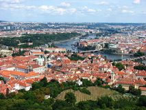 Top view of Prague City with vltava river Royalty Free Stock Photo