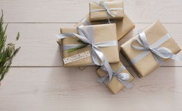 Top view of present boxes on white with copy space Royalty Free Stock Image