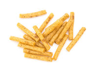 Top view pretzel sticks on white background Royalty Free Stock Image
