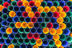 Top view of primary colors of mix color cups  for artist painting Royalty Free Stock Images