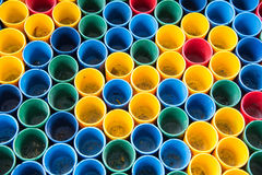 Top view of primary colors of mix color cups for artist painting. Top view of primary colors of mix color cups for artist painting royalty free stock images