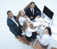 Top view.professional business team looking at camera. The concept of teamwork royalty free stock photography