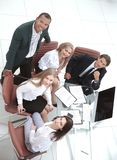 Top view.professional business team looking at camera. The concept of teamwork stock images