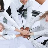 Top view.professional business team shows its success. The concept of teamwork royalty free stock photography