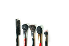 Top view professional make-up brushes isolated white background. Close-up top view professional make-up brushes isolated white background Stock Images