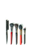 Top view professional make-up brushes isolated white background. Close-up top view professional make-up brushes isolated white background Royalty Free Stock Photos