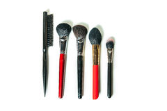 Top view professional make-up brushes isolated white background. Close-up top view professional make-up brushes isolated white background Stock Photo
