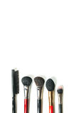 Top view professional make-up brushes isolated white background. Close-up top view professional make-up brushes isolated white background Royalty Free Stock Images