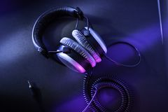 Pro mastering headphones for audiophiles royalty free stock photography