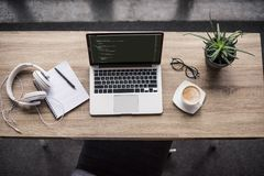 top view of programmer laptop stock photo