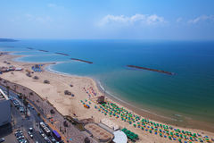 Top view of the promenade of tel Aviv. And yacht club stock photos