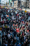 Top View of the Protesters Walking in the Packed Streets Stock Photos