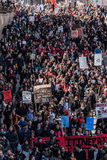 Top View of the Protesters Walking in the Packed Streets Royalty Free Stock Photo