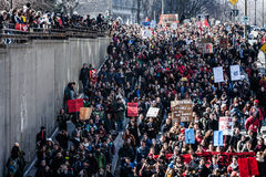 Top View of the Protesters Walking in the Packed Streets Royalty Free Stock Photography