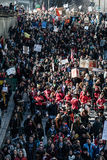 Top View of the Protesters Walking in the Packed Streets Stock Photo