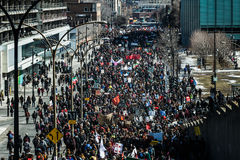 Top View of the Protesters Walking in the Packed Streets Royalty Free Stock Photos