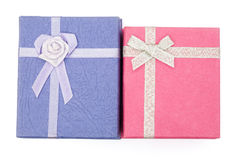 Top view purple and pink gift boxes Royalty Free Stock Photo