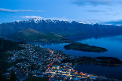 Top view of Queenstown downtown at dusk. South Island, New Zealand Royalty Free Stock Photos