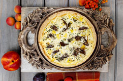 Top view of quiche lorraine. In autumn setting Royalty Free Stock Photos