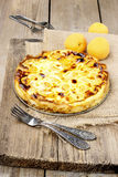 Top view of quiche lorraine Stock Photo