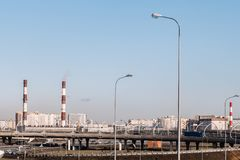 Industrial landscape. Heating plant and viaduct royalty free stock images