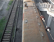 Top view of railway track and passenger train Royalty Free Stock Photography