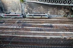 Top view on railway tracks Stock Photo