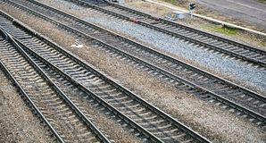Top view of railway tracks Royalty Free Stock Image