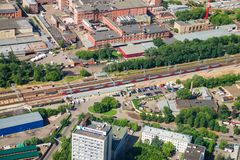Top view of railway and train, traveling to Moscow Royalty Free Stock Photo