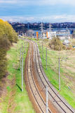 Top view of a railway tray in a suburbs. In Kaunas, Lithuania Royalty Free Stock Photo