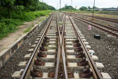Top view of Railway,Udonthani royalty free stock photo