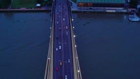 Top view of Rama 8 Bridge in cars transportation concept, Bangkok city, Thailand. 4K cityscape VDO. stock video