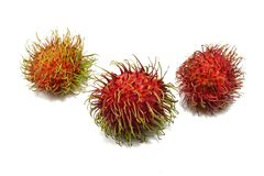 Top view of rambutan isolated on white background. Top view of rambutan isolated on white background, Tropical fruit, copy space. Nephelium lappaceum Royalty Free Stock Photography