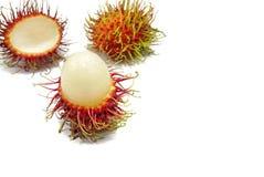 Top view of rambutan isolated on white background. Top view of rambutan isolated on white background, Tropical fruit, copy space. Nephelium lappaceum Stock Photos