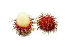 Top view of rambutan isolated on white background. Top view of rambutan isolated on white background, Tropical fruit, copy space. Nephelium lappaceum Stock Photo