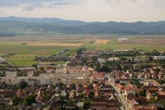 Top view of Rasnov in Romania. stock photos