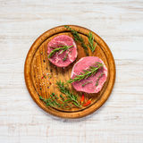 Top View of Raw Beef Meat Spiced Royalty Free Stock Photos