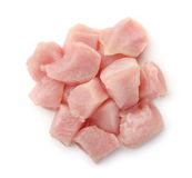 Top view of raw chicken fillet chunks Royalty Free Stock Image